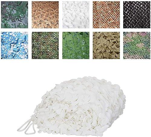 Filet de camouflage armée, Tissu Oxford de tente de filet de camouflage d'ombrage net de filet, approprié à la chasse de déguiseHommest de peau tirant le grand jardin 3x5m, blanc Convient pour l'extérieu