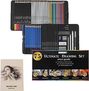 AXEARTE Drawing Pencils Set, 75pcs Art Kit - 24 Colored Pencils, 12 Metallic Pencils, 12 Sketching Pencils, 12 Charcoal Pe...
