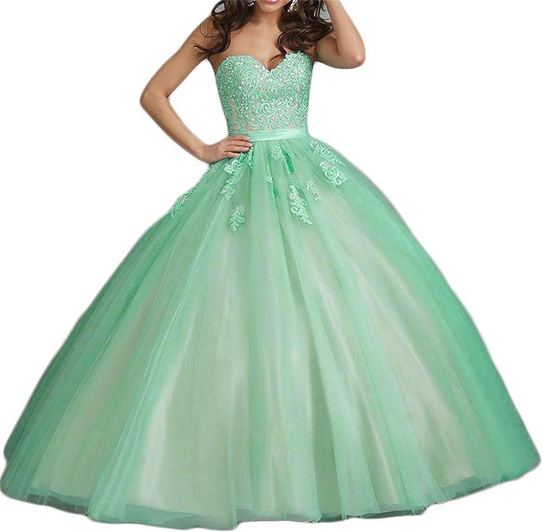 LISA.MOON Women's Sweetheart Tulle Beaded Zipper Sleeveless Quinceanera Dresses