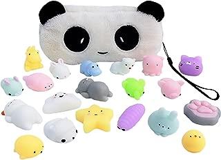 Mochi Squishy Toy 20-Pcs Pack - FREE Kawaii Panda Bag| Random Package of Mini Variety Animals Squishies Case| Cute Box of Animal Toy Set| Fun Birthday Present Idea for Girls + Boys Party Favor