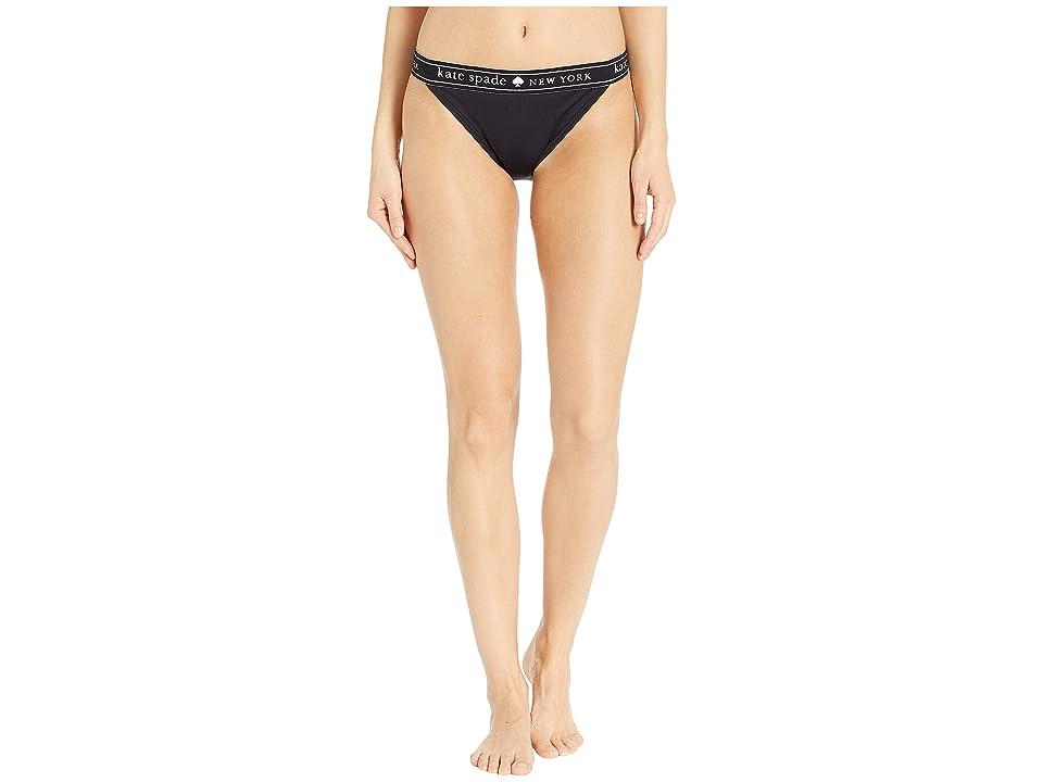 Kate Spade New York Treasure Beach Logo Elastic Bikini Bottoms (Black) Women