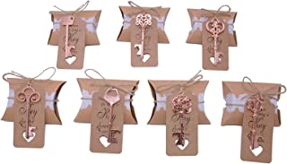 Wedding Favors for Guests 70 Pack Mixed Large Skeleton Key Bottle Openers (Rose Gold, 7 styles) with Tag and Pillow Candy Box and Twine Vintage Bridal Shower Favors Bottle Openers (70 pack Rose Gold)