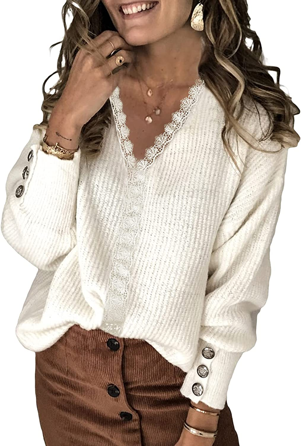 HOTAPEI Womens V Neck Button Long Sleeve Pullover Sweater Loose Striped Polka Dot Knit Jumper Tops