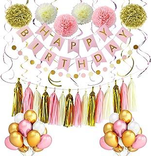 تزیینات تولد صورتی و طلایی LITAUS ، لوازم تزئینات مهمانی ، بنر تولدت مبارک ، بادکنک مهمانی ، گلهای کاغذی ، حلقوی حلق آویز برای دختران تولد ، لوازم جشن تولد