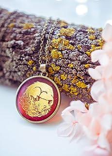 Collana di volpe d'oro, collana di boschi, gioielli in natura, ciondolo volpe, gioielli in resina, gioielli illustrati per...