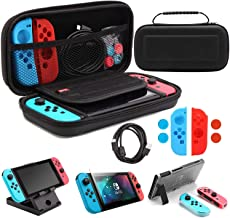 Whasoo Carry Case Compatible With Nintendo Switch, 10in1 Storage Case include Type C Cord, Screen Protector, Joy Con Cover...