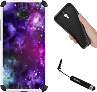 URAKKI Case, White Hybrid 2-Layer Rugged Armor Hard Cover Case Compatible with Huawei Ascend XT H1611 (2016) / (NOT for) Ascend XT2 H1711 (2017) [Purple Galaxy] Case