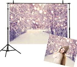 Allenjoy 7x5ft Winter Snowing Landscape Backdrop White Snow Scene Road Forest Pine Tree Bokeh Christmas Adult Child Travel Family Photography Background Decoration Photo Studio Props