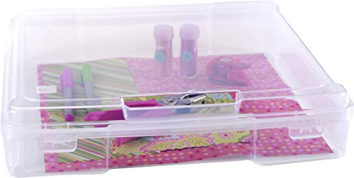 """IRIS USA SBC-350E Portable Project and Scrapbook Case for 12"""" x 12"""" paper, Holds 12""""x12"""", Clear clear, 6 Pack"""