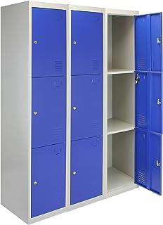 MonsterShop - 3 Taquillas para Ensamblar con 3 Puertas Azules de Acero 45cm x 114cm x 180cm para Escuelas, Gimnasios y Vestuarios