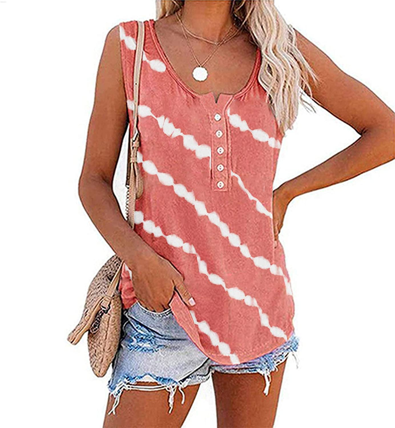 Summer Tops for Women, Womens Fashion Stripe V Neck Tank Top Sleeveless Vest T Shirts Casual Loose Tunic Blouses