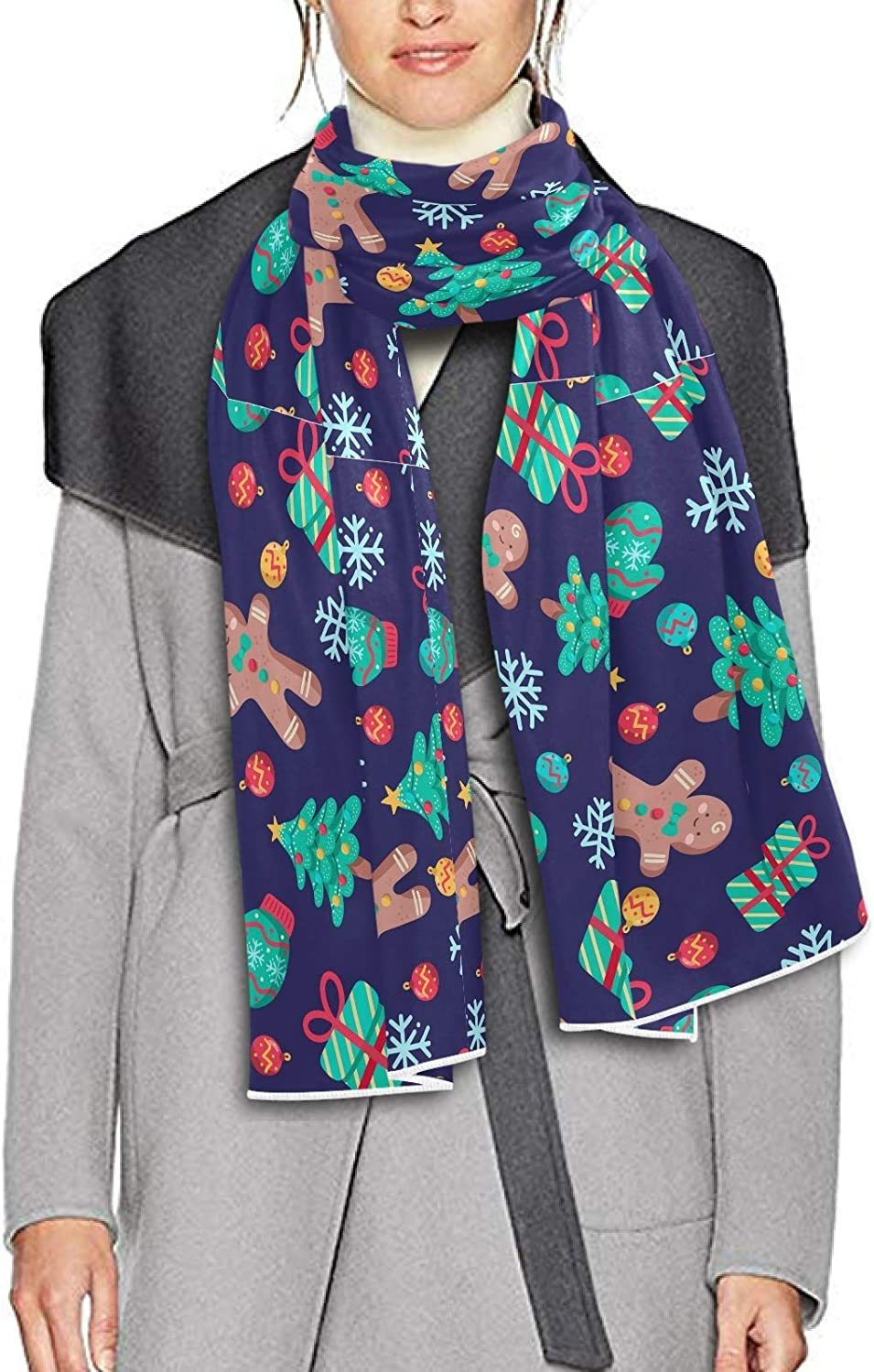 Scarf for Women and Men Cute Chritmas Pattern Gingerbreads Christmas Trees Blanket Shawl Scarf wraps Thick Soft Winter Large Scarves Lightweight