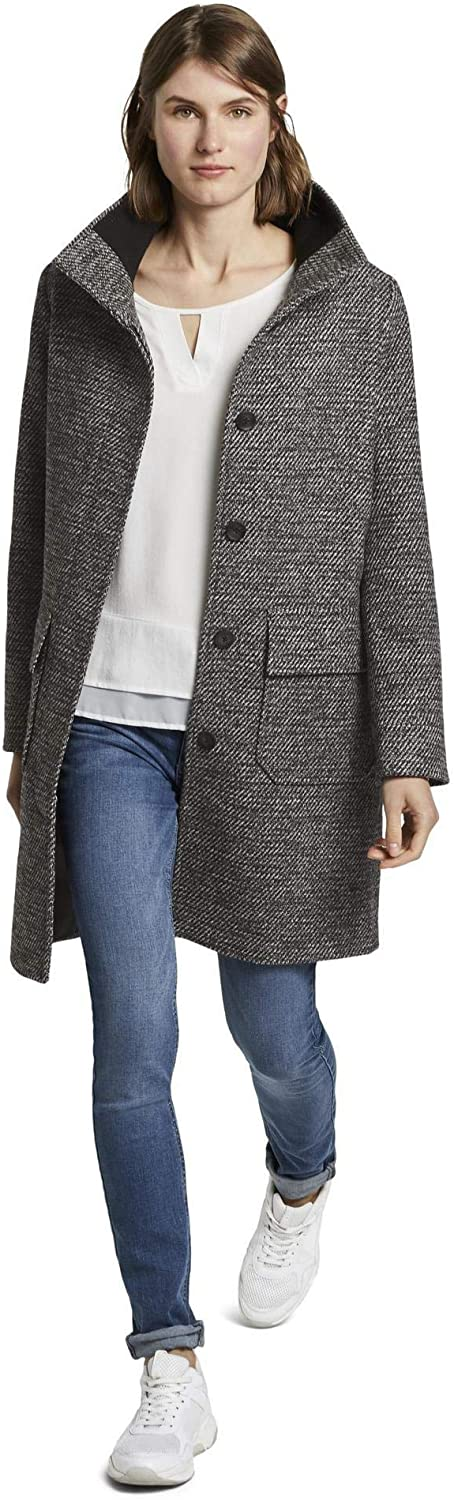 TOM TAILOR Damen Jacken Mantel aus Tweed mit Stehkragen Black White Structure Twill