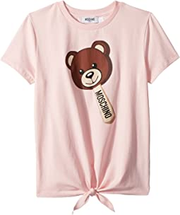 Moschino Kids Short Sleeve Teddy Bear Graphic T-Shirt w/ Front Knot (Big Kids)