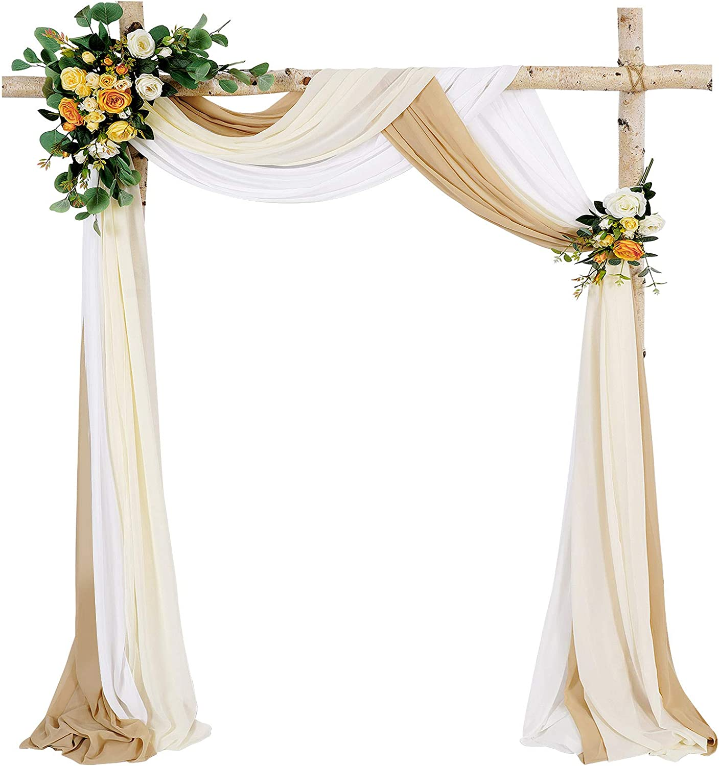 Wedding Arch Outdoor Indoor White Sheer Backdrop Curtain 3 Panels Chiffon Fabric Drapery 6 Yards Nude and Cream Party Background Drapes Wedding Decoration