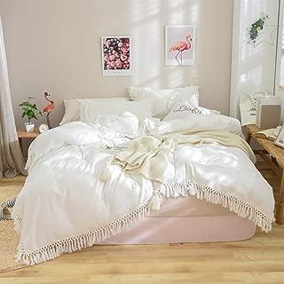 Softta White Duvet Cover Queen 3 Pcs Boho Bedding Ruffle Tassel Farmhouse Duvet Covers Fringed 100% Washed Cotton