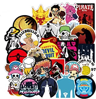 100 PCS One Piece Anime Stickers for Laptop Water Bottle Luggage Snowboard Bicycle Skateboard Decal for Kids Teens Adult Waterproof Aesthetic Stickers (One Piece Anime)