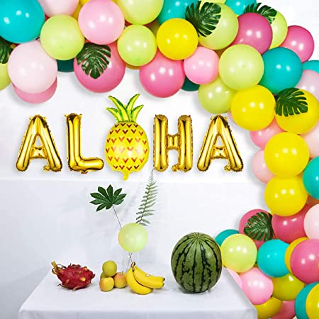 10Pcs Hawaii Safety Latex Balloon Flamingo Pineapple Hawaiian Party Decorations