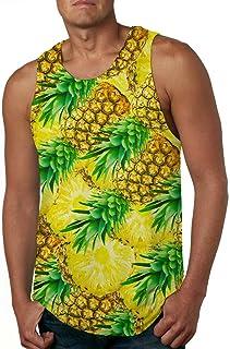 Cutemefy Men s All Over Print Sleeveless Tank Top Casual Sport Gym Vest  Shirt