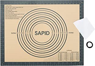 "Non Slip Silicone Pastry Mat Large with Measurements for Non-stick Dough Rolling, Pie Crust, Pastry Roll Out, Cookies,Bread and Silicon Kneading Mat (16"" x 20"", Gray)"