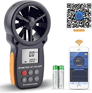 BTMETER Digital Wind Speed Anemometer Handheld, Wireless Bluetooth Vane Anemometer Meter for Wind Chill, Speed, Temperature Monitor BT-100APP