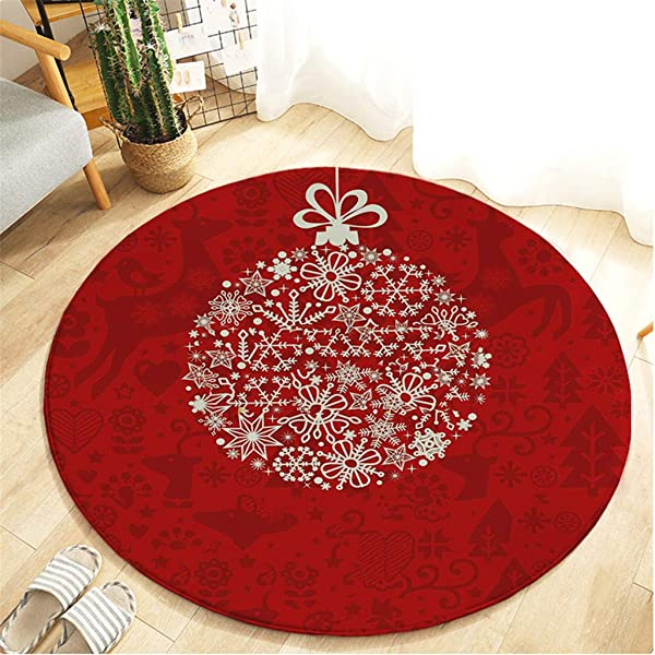 C Easy Christmas Tree Snowflake Printed Carpet Floor Mats Flannel Round Entry Carpet Bathroom Kitchen Anti Slip Floor Mats For Living Room Foyer Bedroom Dining Room Hallway