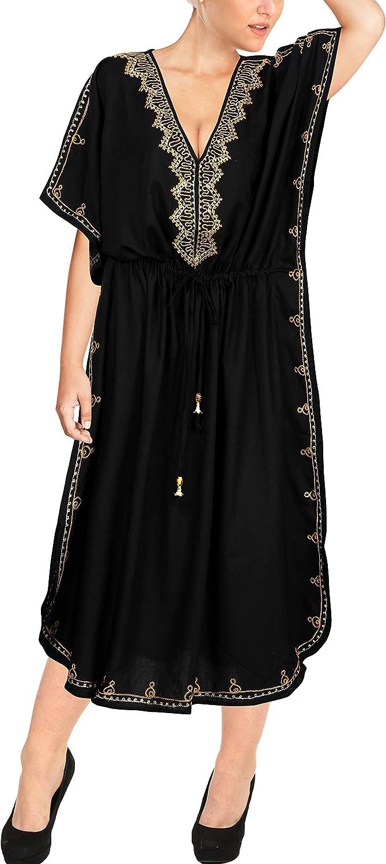 LA LEELA Women's One Size Caftan Evening Dresses Swimwear Cover Ups Embroidered