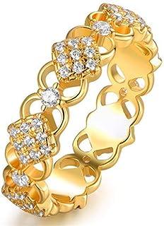 LINYIN Squisito Fiore Cavo Uomo Oro Placcato Anello Ogni Giorno all-Match Indice Finger Ring 8号 Ring
