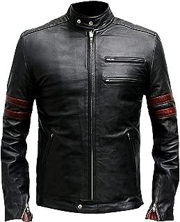 Mens Red Stripes Fight Mayhem Club Hybrid Retro Motorcycle Leather Jacket