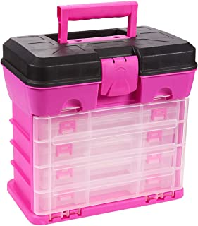 Juvale Tool Box - Organizer Box - Includes 4 13-Compartment Slideout Containers - Perfect for Storing Tackle, Craft Accessories, Nuts and Bolts, Pink, 10.5 x 10.2 x 6.2 Inches