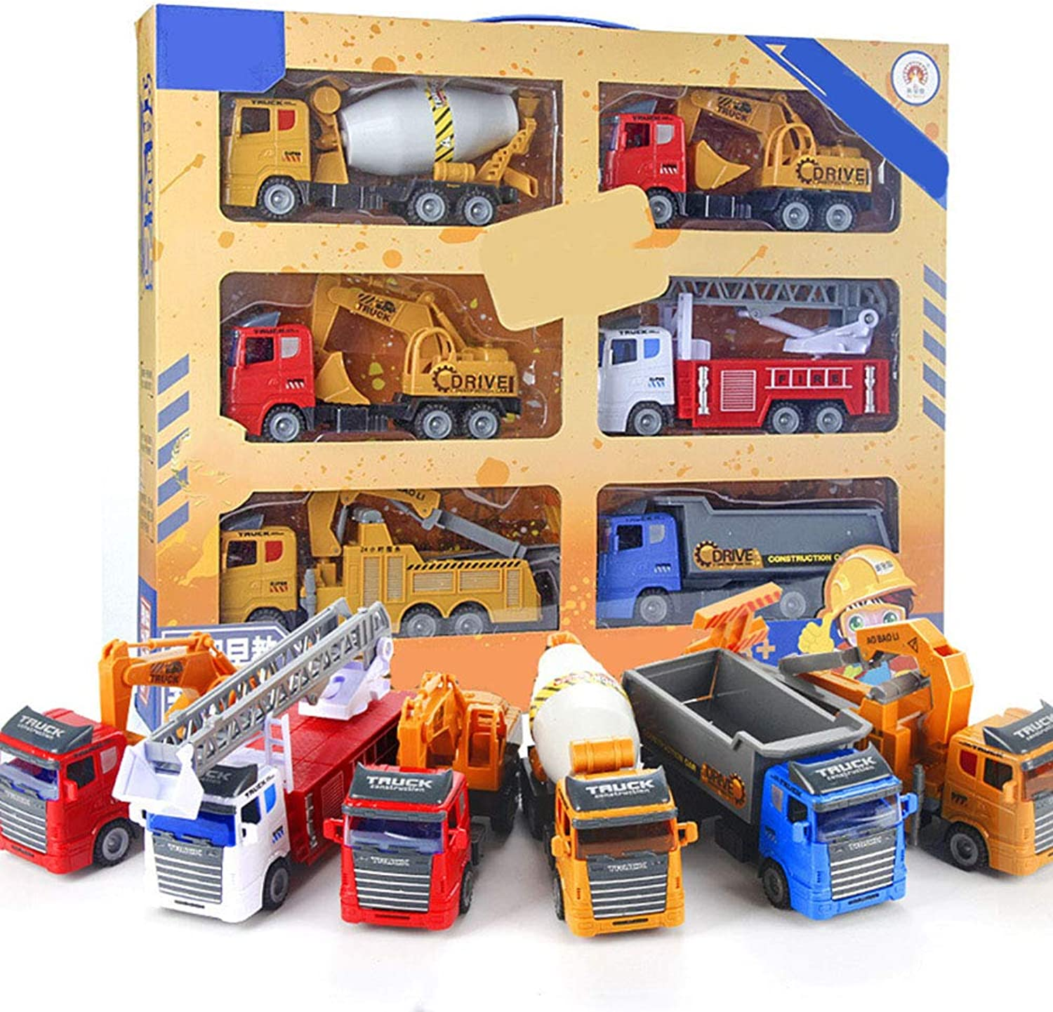 AOTED Inertia Engineering Vehicle, Simulation Car Model Excavator Toy Truck Dump Truck Cement Tanker 6Piece sSet Boy Girl Gift
