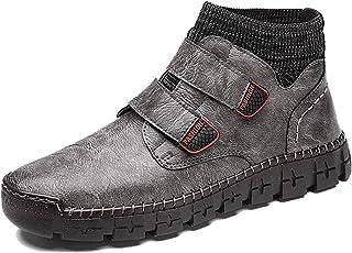 LangfengEU Bottes de Marche décontractées pour Hommes en Plein air Grande Taille Mode Double Crochet Boucle Chaussures d'a...