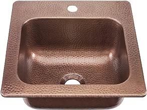 Sinkology KPD-1515HA Seurat Drop In Handmade Pure Solid Copper 15 in. 1-Hole Bar Copper Sink in Antique Copper