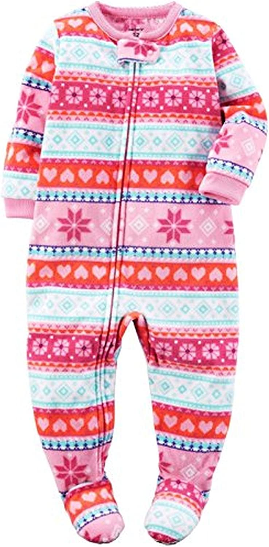 Carter's Girl's 3T Winter Pink Fair Isle Fleece Footed Pajama Sleeper