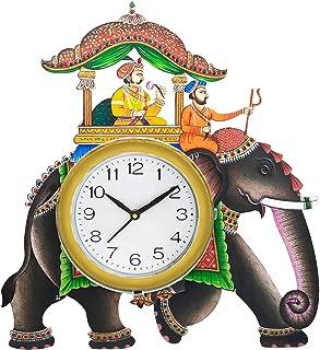 SHIVA ARTS Handpainted Beautifully Handicrafted UV Printed Ambawari Elephant Design Wall Clock for Home/Office/Gifts (40 c...
