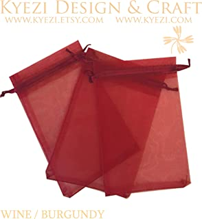 50 Pcs Burgundy 3x4 Sheer Drawstring Organza Bags Jewelry Pouches Wedding Party Favor Gift Bags Gift Bags Candy Bags [Kyezi Design and Craft]