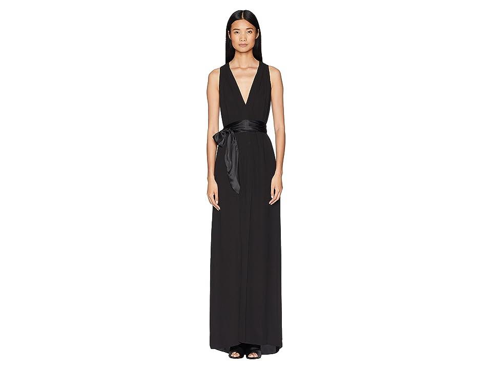 Halston Heritage Sleeveless V-Neck Flowy Gown w/ Sash (Black) Women