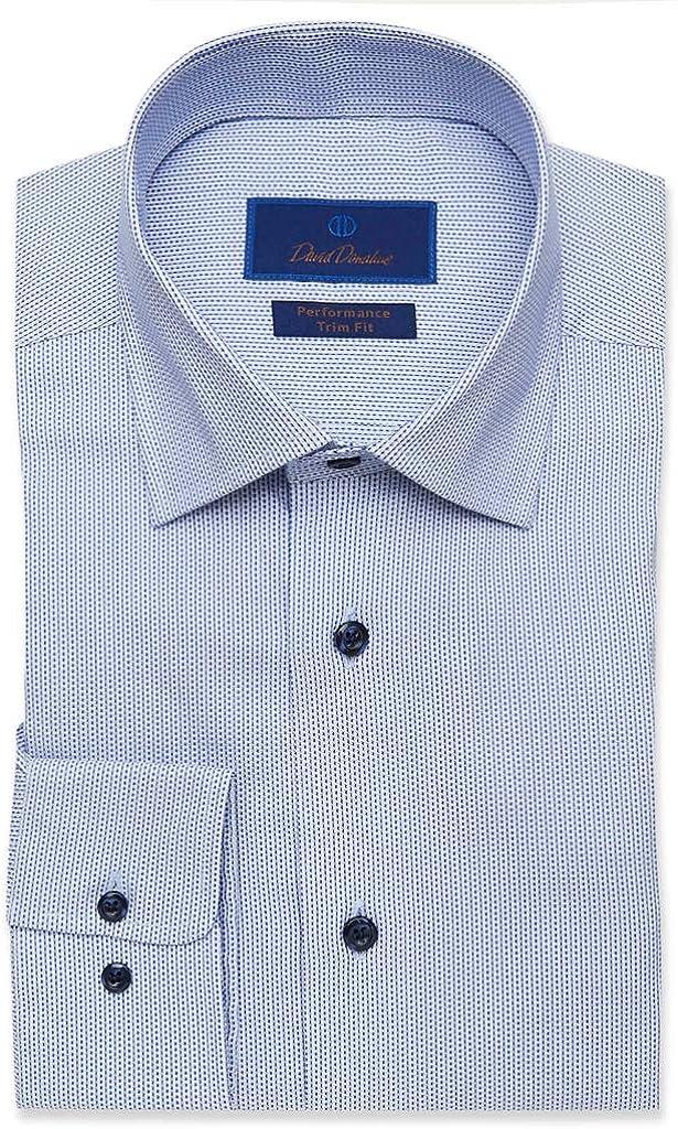 David Donahue Trim Fit Blue Tonal Dobby Performance Dress Shirt White/Blue 16 x 34-35