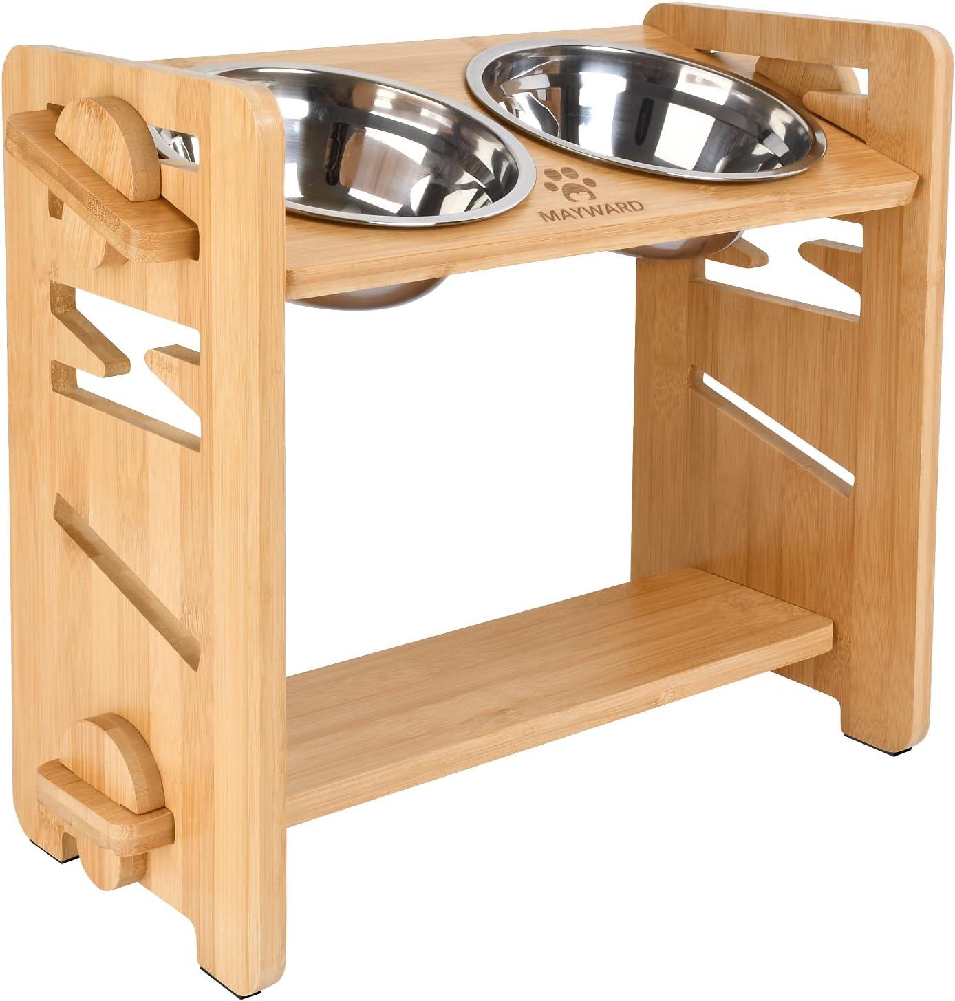 MAYWARD Dog Raised Bowls, Adjustable Bamboo Elevated Dog Bowl 15° Tilted and 0° Raised Dog Bowl with 2 Stainless Steel Bowls, Raised Food Bowls for Medium and Small Dogs and Cats