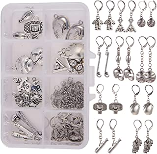 SUNNYCLUE 1 Box DIY Make 10 Pairs Baseball Football Sport Theme Earring Jewelry Making Starter Kit Include Alloy Rugby Player Bat Glove Ball Charms Pendants, Jump Rings, Leverback Earring Findings