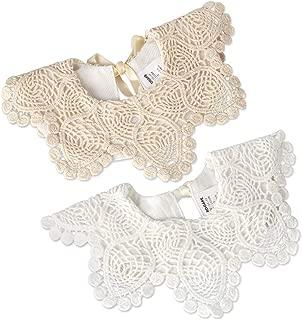 2 Pack Baby Drool Bibs,100% Organic Cotton Drooling and Teething Bandana Bibs Lace Fake Collar Bib Set for Toddler Girls