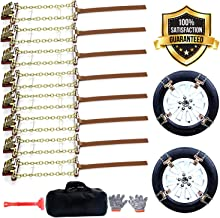 EASE2U E Snow Chains, Tire Chains for suvs, Cars, Sedan, Family Automobiles,Light Trucks with Update Adjustable Lock for Ice, Snow,Mud,Sand,Applicable Tire Width 205-275mm/8.07-10.8in(8 Pack)