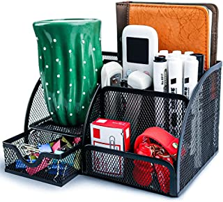 Mesh Desk Organizer with 6 Compartments and 1 Drawer, Office Organizer Desk Accessories, for Home Office Supplies (Black)