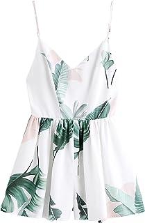SweatyRocks Women`s Boho Floral Print V Neck Beach Shorts Romper Jumpsuit with Belt