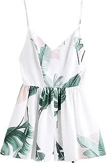 Women's Boho Floral Print V Neck Beach Shorts Romper Jumpsuit with Belt