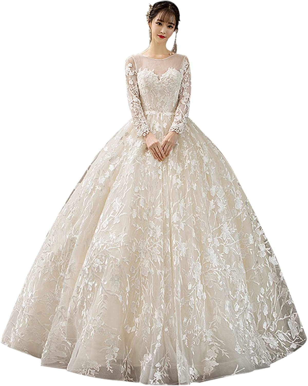 Epinkbridal Women's Sheer Sweetheart Neckline Bridal Ball Gowns Applique Long Sleeve Lace Open Back Wedding Dress 2018