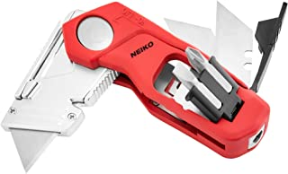 NEIKO 00678A Premium 4-In-1 Folding Utility Knife With Screwdriver Bits | Box Cutter & Wire Stripper Tool | Quick Release ...