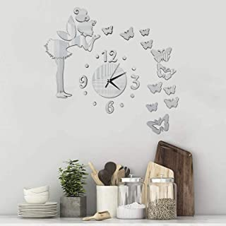 DIY Art Wall Clocks, Angel Butterfly Large Sticker, 3D Acrylic Mirror Wall Stickers Decoration, for Living Room, Bedroom, ...