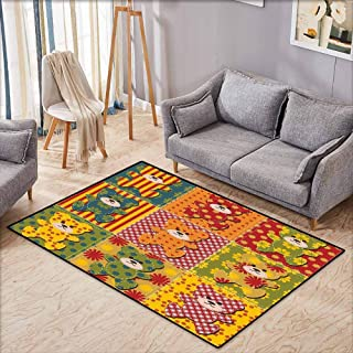 Skid-Resistant Rug,Cabin Decor,Colorful Kids Room Pattern with Patchwork Style Teddy Bears Cute Funny Childish,for Outdoor and Indoor,4'11