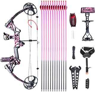 """Compound Bow Ship from USA Warehouse,Topoint Archery for Women, Package M1,19""""-30"""" Draw Length,10-50Lbs Draw Weight,Limbs Made in USA Hunting Bow for Girls,Whole Muddygirl Color"""
